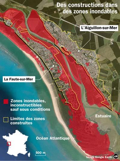 carte zone inondable vendée Carte des zones inondables (france info)   La Faute sur Mer